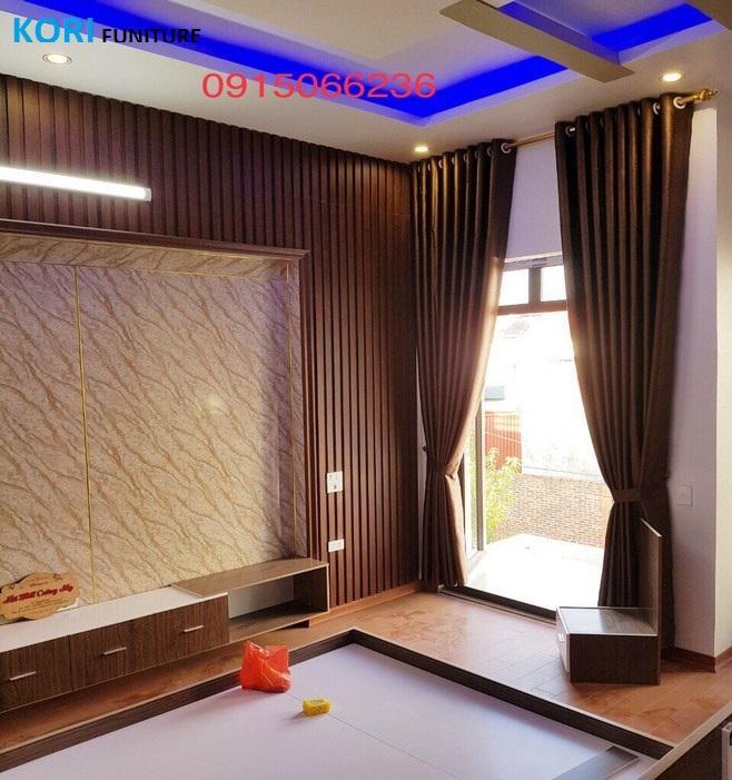 ốp tường gỗ phòng ngủ cao cấp , Tường ốp gỗ công nghiệp,