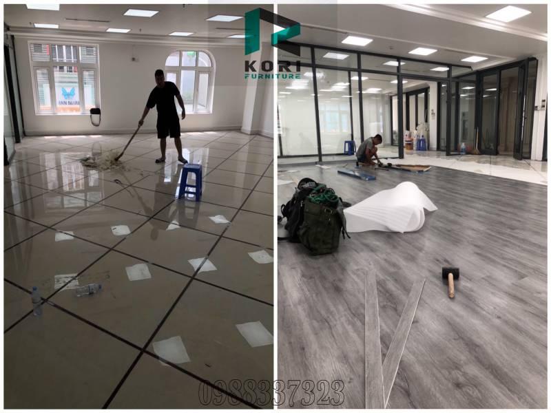 thi công sàn nhựa vân gỗ, cách thi công sàn nhựa hèm khóa, hướng dẫn thi công sàn nhựa vân gỗ,