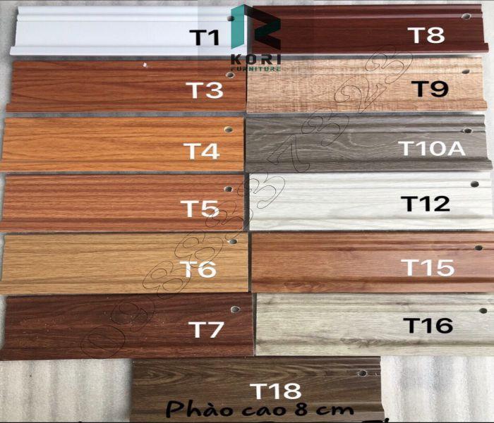 phụ kiện sàn nhựa sàn gỗ, phào chân tường giả gỗ, mẫu phào chân tường vân gỗ 8cm,